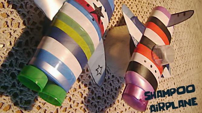 Pesawat Mainan Dari Botol Shampo Bekas