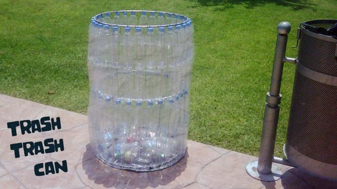 Tong Sampah Besar Dari Botol Plastik Bekas