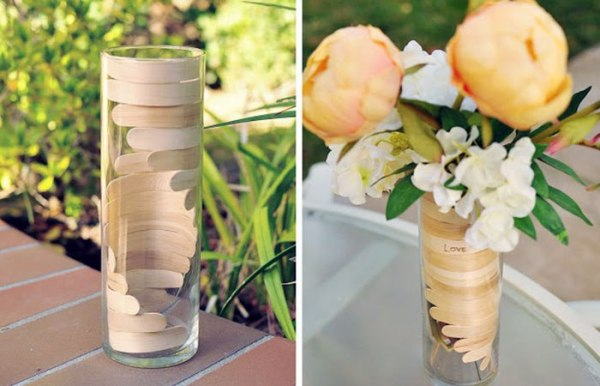 Hiasan Vas Bunga Dari Stik Es Krim