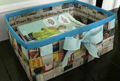 Kotak Penyimpanan Besar Dari Koran Bekas Via Craftstylish.com
