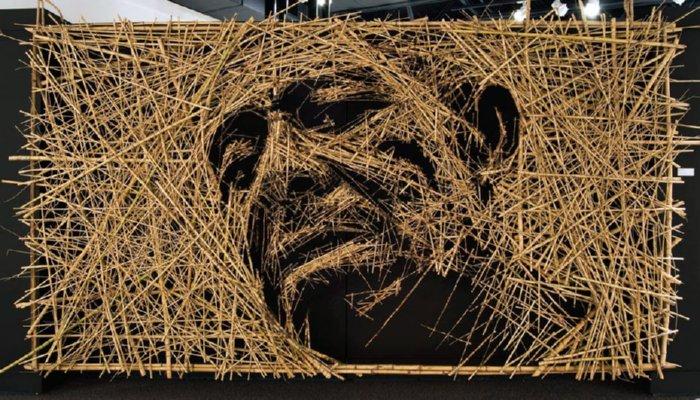 Portrait Foto Dari Bahan Bambu Dan Kawat Via Mor Ristsai.com