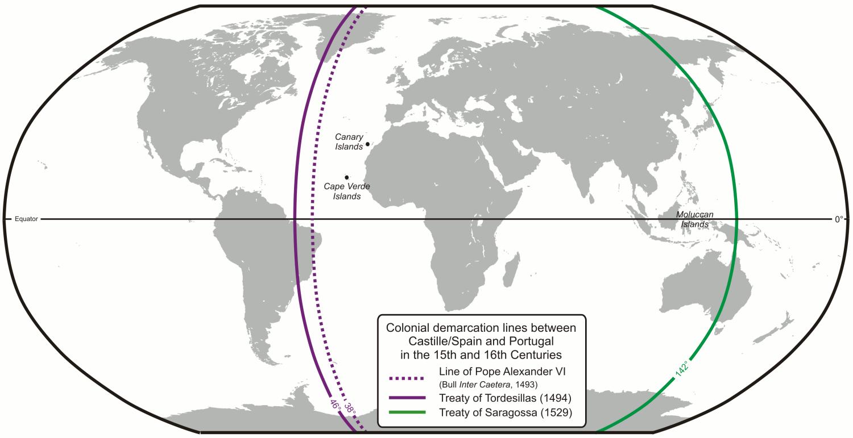 Pembagian Wilayah Kolonisasi Untuk Portugis Dan Spanyol Berdasarkan Perjanjian Saragosa