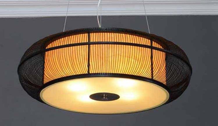 Lampu Hias Ukir Berbahan Kayu Dan Bambu