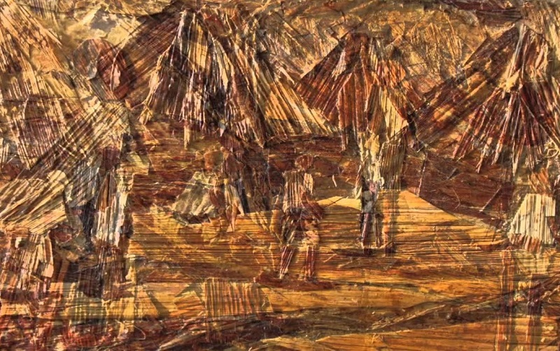 Karya Lukisan Dari Tempelan Tempelan Pelepah Pisang Kering