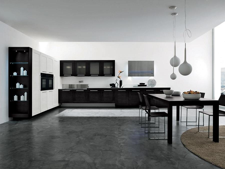 Dapur Hitam Putih Dengan Style Kafe