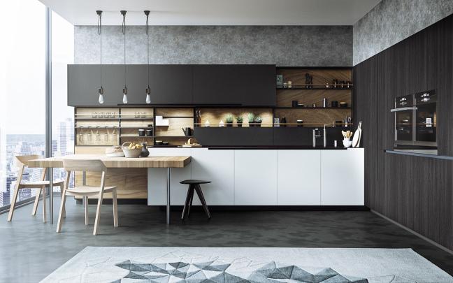 Dapur Hitam Putih Minimalis Modern