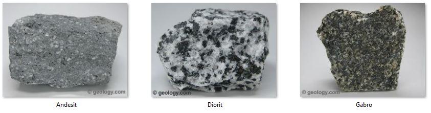 Contoh Batuan Beku Andesit, Diorit, Dan Gabro